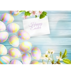 easter eggs on wooden table eps 10 vector image