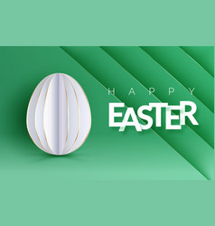Easter holiday flyer with realistic paper egg and vector