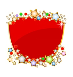 Elegant red shield with stars on white background vector image