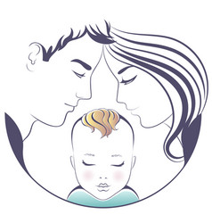 family parents with a baby vector image
