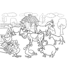 Farm animals cartoon for coloring book vector