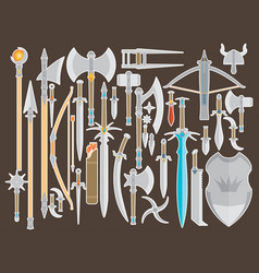 Flat design colors medieval cold weapon set vector