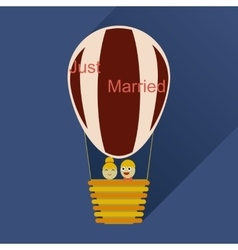 Flat icon with long shadow newlyweds in balloon vector