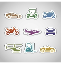 flat retro color stickers - set eleven vector image