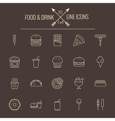 Food and drink icon set vector image