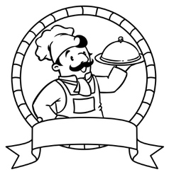 Funny cook or chef Coloring book Emblem vector