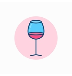 Glass of wine colorful icon vector