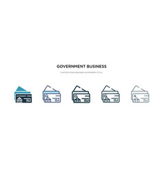 government business card icon in different style vector image