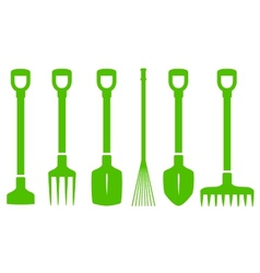 Green gardening tools set vector