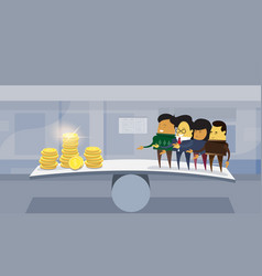 group of asian business people vs money on balance vector image