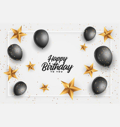 Happy birthday card with golden stars and black vector