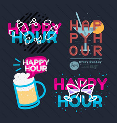 Happy hour call sign logo related vector