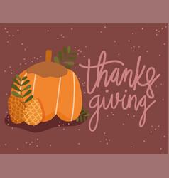 happy thanksgiving pumpkin pine cones autumn vector image
