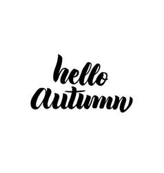 hello autumn handwritten lettering vector image