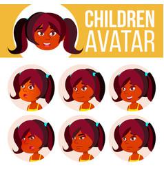 Indian girl avatar set kid kindergarten vector