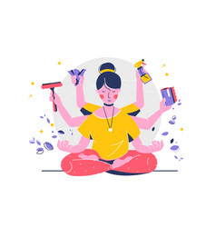indian woman with many hands in lotus position vector image