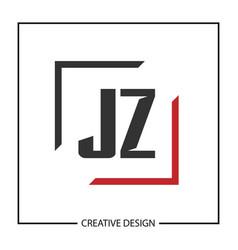 Initial jz letter logo template design vector