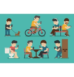 Internet and smartphone addiction eps10 f vector image