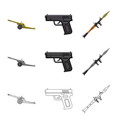 isolated object of weapon and gun icon collection vector image