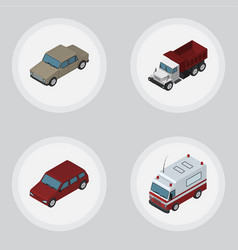 Isometric automobile set of auto car freight and vector