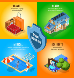 isometric travel insurance service concept vector image