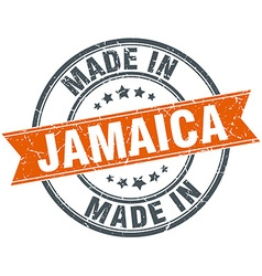 Jamaica orange grunge ribbon stamp on white vector