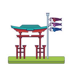 Japanese koinobori flag design vector