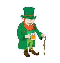 Leprechaun with a glass of beer and a cane vector