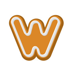 Letter w gingerbread peppermint honey-cake font vector