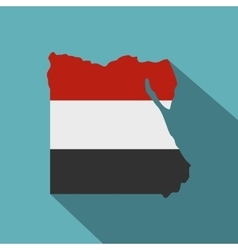Map of egypt in egyptian flag colors icon vector