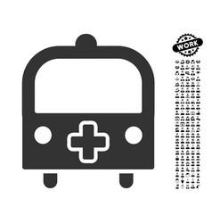 Medical bus icon with people bonus vector