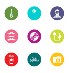 Modern nation icons set flat style vector