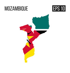 Mozambique map border with flag eps10 vector