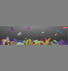 multicolored falling twirled realistic feathers vector image
