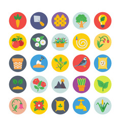 Nature and ecology flat circular icons 2 vector