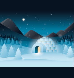 Night scenery with icy cold house vector