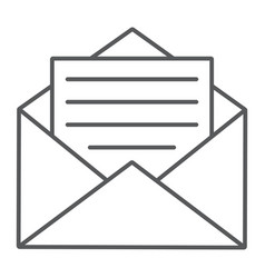 open mail thin line icon envelope and letter vector image