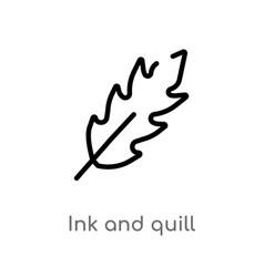 Outline ink and quill icon isolated black simple vector