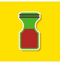 paper sticker on stylish background coffee jar vector image