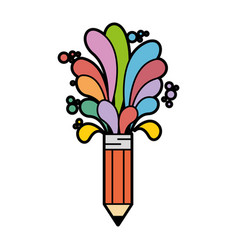 Pencil with colorful shapes icon vector