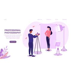 Professional photographer shooting female model vector