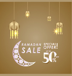 Ramadan sale up to 50 off special offer template vector