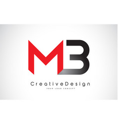 Red and black mb m b letter logo design creative vector
