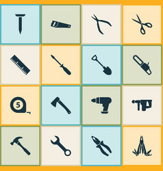 Repair icons set collection of handsaw axe turn vector