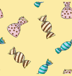 Seamless background pattern of candy vector