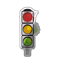 semaphore traffic light post vector image