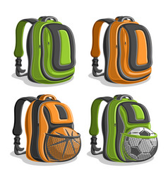 Set icons sports backpacks vector