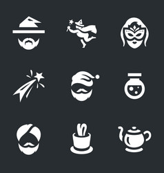 set magic icons vector image