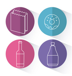 set of fast food and drink icon vector image