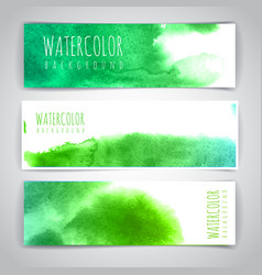 Set of green artistic watercolor backgrounds vector